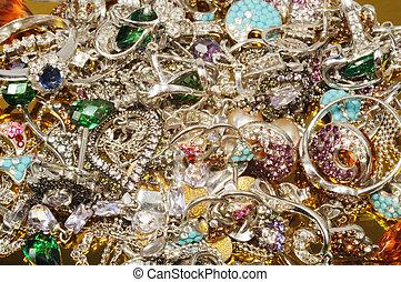 platyna, biżuteria, z, klejnoty