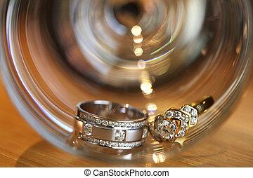 platyna, pary, diament, dzwoni, ślub