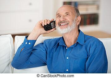 plaudern, beweglich, erfreut, telefon, älterer mann