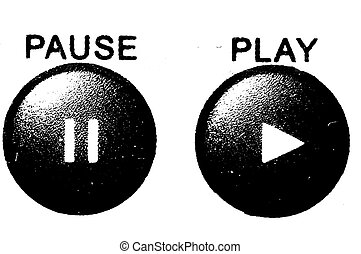 Play and Pause grunge buttons - Black and white hard...