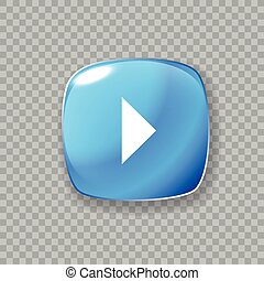 Play arrow icon. Glossy blue button. Vector illustration