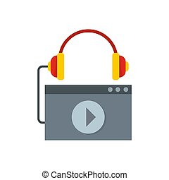 Play audio file icon, flat style