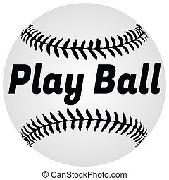 Play Ball Baseball Illustration Isolated on White with Clipping Path