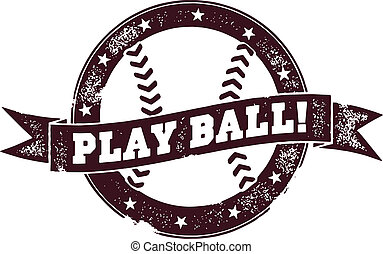 Play Ball Vintage Baseball Stamp - Vintage style graphic for...