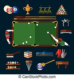 Play Billiards Flat Icon Set