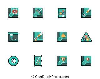 Play billiards stylish flat vector icons set