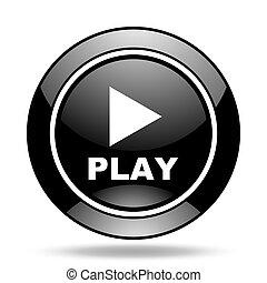 play black glossy icon
