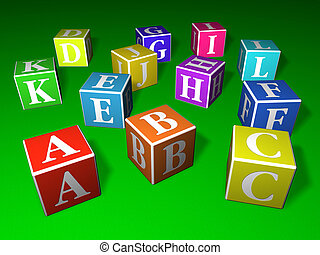 Play blocks - A, B, C and other letters written on colourful...