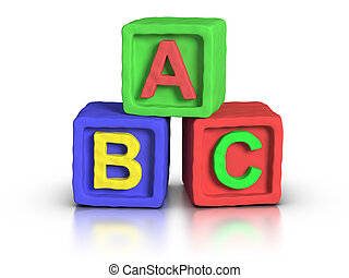 3D rendered play block abc made with plasticine material.