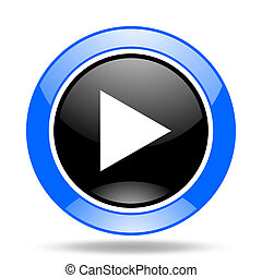 play blue and black web glossy round icon