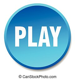 play blue round flat isolated push button