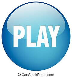 play blue round gel isolated push button