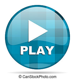 play blue round modern design internet icon on white background