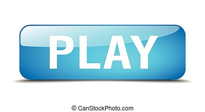 play blue square 3d realistic isolated web button