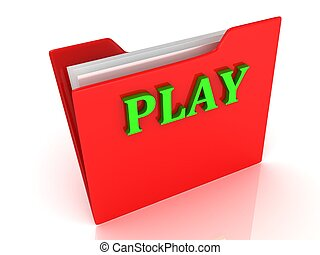 PLAY bright green letters on a red folder