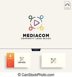 play button community logo template vector illustration icon element isolated