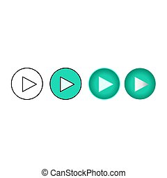 Play button design flat, play button for music, video, streaming, vector illustration
