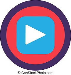 Play Button Flat Icon Design, Web App Sign Vector