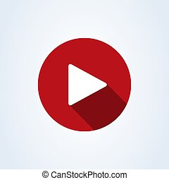 play button flat style. Vector illustration icon isolated on white background.