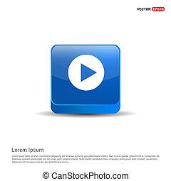 Play button icon - 3d Blue Button