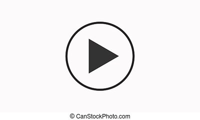 Play button icon animation self drawing outline