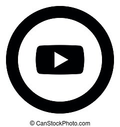 Play button icon black color in round circle