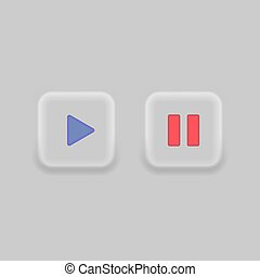 Play button icon design. Neumorphism. Video play and pause button symbol. Media player button sign