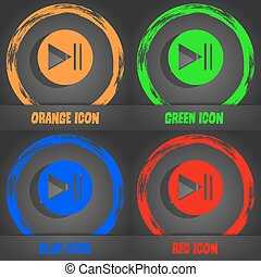 play button icon. Fashionable modern style. In the orange, green, blue, red design. Vector