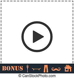 Play button icon flat