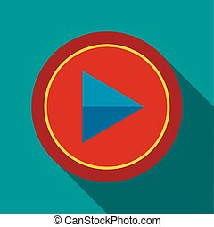Play button icon in flat style