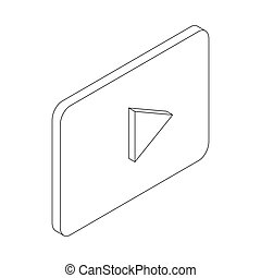Play button icon, isometric 3d style