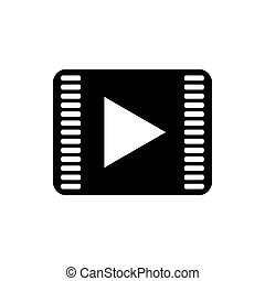 Play button icon on a white background
