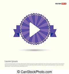Play button icon - Purple Ribbon banner