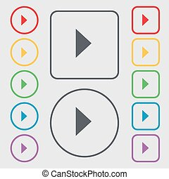 play button icon sign. symbol on the Round and square buttons with frame. Vector