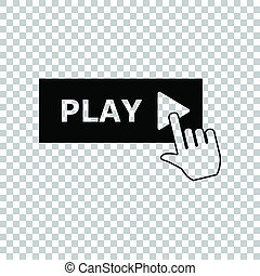 Play button icon with hand sign. Black icon on transparent background. Illustration.