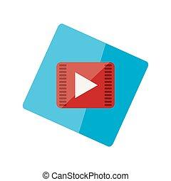 Play button on a blue sticker