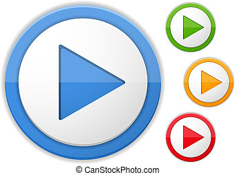 Play buttons, four colors, vector eps10 illustration