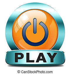 play button - play game or video clip or watch movie online ...