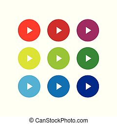 Play button set vector