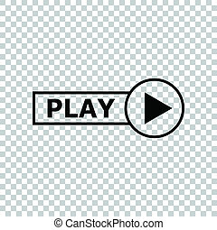Play button sign. Black icon on transparent background. Illustration.