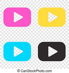 Play button sign. CMYK icons on transparent background. Cyan, ma