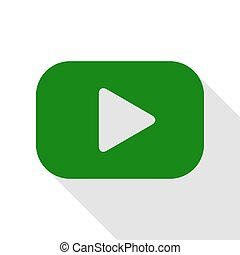Play button sign. Green icon with flat style shadow path.