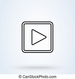 play button square. flat style. Vector line art illustration icon isolated on white background.