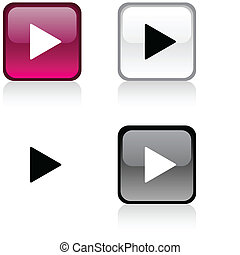 Play button. - Play glossy square vibrant buttons. .