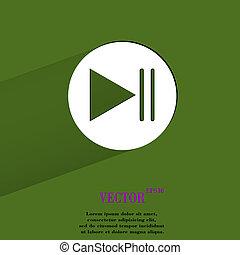 Play button web icon, flat design