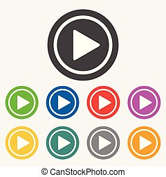 Play button web icon. Flat vector illustration