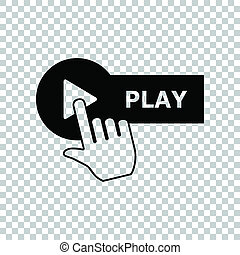 Play button with hand icon sign. Black icon on transparent background. Illustration.