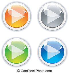 Play buttons. - Play realistic buttons. Vector illustration....