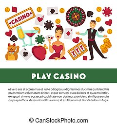 Play casino promotional poster with equipment for gambling,...