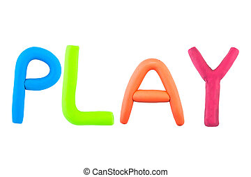 play , clay on the white background
